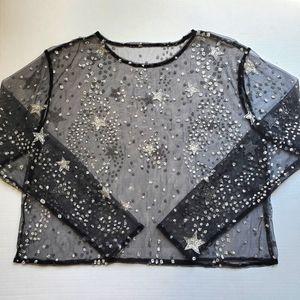 LBD Black Mesh Glitter Top